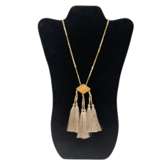 """30"""" Seed Bead Necklace with Triple Tassel Pendant - Natural and Light Taupe"""