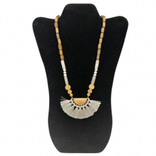 """18"""" Wood Bead Necklace with Brushed Gold Pendant - Light Gray"""