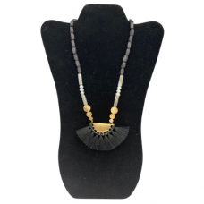 """18"""" Wood Bead Necklace with Brushed Gold Pendant - Light Black"""