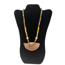 """18"""" Wood Bead Necklace with Brushed Gold Pendant - Natural"""
