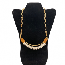 """Gold and Wood Bead 18"""" Necklace - White"""