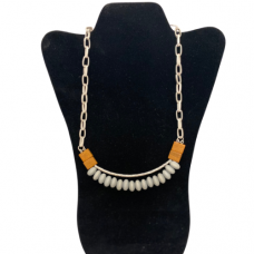 """Silver and Wood Bead 18"""" Necklace - Light Gray"""