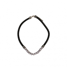 Grey Pearl with Black Braided Cord