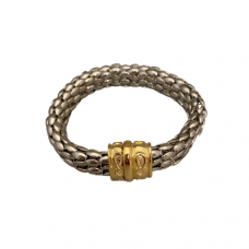 Silver Bracelet With Gold Accents And Magnetic Clasp
