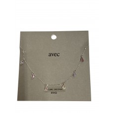 Silver Fine Chain Anklet With Teardrop Multi Colored Stones