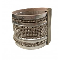2 Inch Wide Wrap Bracelet With Magnetic Clasp - Silver