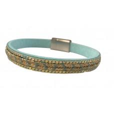 Gold Metallic Arrow Bracelet - Aqua