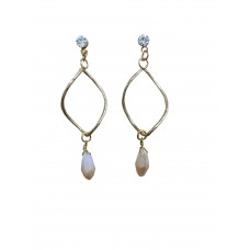 Crystal Stud With Gold Twist And Crystal Dangle Pendant Earring
