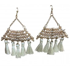 Cream Color Crystal Dangle Wire Earring With Tassel