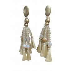 Bohemian Bead And Tassel Post Earrings - Cream