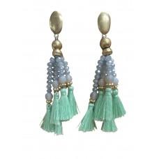 Bohemian Bead And Tassel Post Earrings - Mint
