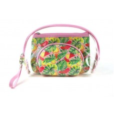 3 Piece Clear Pouch Set With Tropical Fruit Print