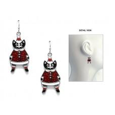 Enamel Santa Cat Earrings - Silver