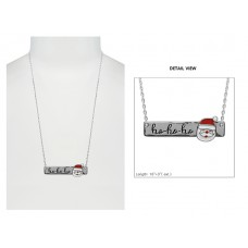Ho Ho Ho Santa Bar Necklace - Silver