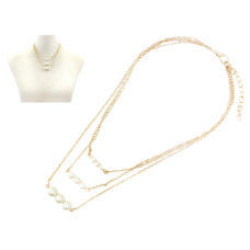 Triple Layered Gold Chain With Pearls - Earrings