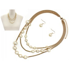 Triple Layered Gold With Pearl Necklace Set With Pearl Wire Earrings