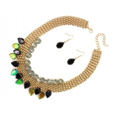 Basket Weave And Stone Collar Necklace Set With Earrings - Black