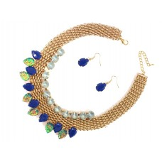 Basket Weave And Stone Collar Necklace Set With Earrings - Dark Blue