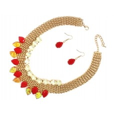 Basket Weave And Stone Collar Necklace Set With Earrings - Red