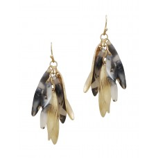 Acetate and Metal Drop Earring - Jet