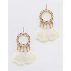 Chain Link with Feather Dangle Earrings - Ivory