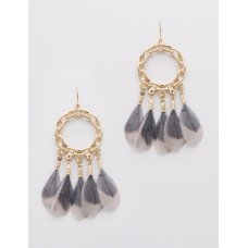 Chain Link with Feather Dangle Earrings - Gray