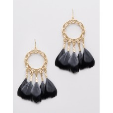 Chain Link with Feather Dangle Earrings - Black