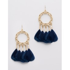 Chain Link with Feather Dangle Earrings - Navy