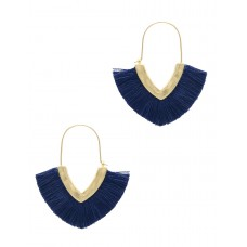 Worn Gold Fringe Earring - Navy