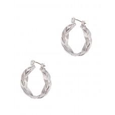 Braided Wire Hoop Earrings - Silver