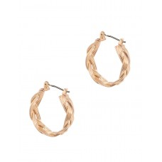 Braided Wire Hoop Earrings - Gold