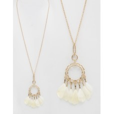 """32"""" Necklace with Feather Accent Pendant - Ivory"""
