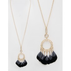 """32"""" Necklace with Feather Accent Pendant - Jet Black"""