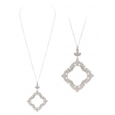 """32"""" Necklace with Silver Lace Filigree Pendant"""