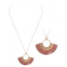 "32"" Necklace with Round Tassel Accent Pendant - Dark Pink"