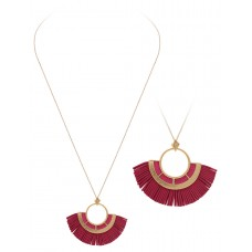 """32"""" Necklace with Round Tassel Accent Pendant - Fuchsia"""