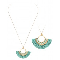 """32"""" Necklace with Round Tassel Accent Pendant - Mint"""