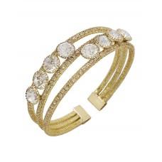 CZ And Rhinestone Gold Cuff Bracelet