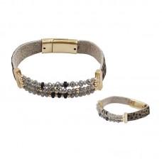 Genuine Leather Animal Print And Crystal Bead Bracelet - Gray