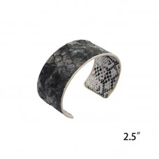 Genuine Leather Snakeskin Print Cuff - Black