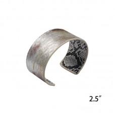 Genuine Leather Snakeskin Print Cuff - Silver