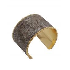 Genuine Leather Metallic Wide Cuff Bracelet - Brown