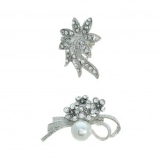 2 Piece Brooch Set - Silver
