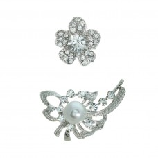 2 Piece Flower and Bouquet Brooch Set - Silver