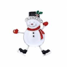Snowman Enamel Pin - Silver