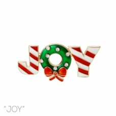 Joy Wreath Enamel Pin - Gold