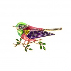 Multi Colored Sparrow Brooch - Gold