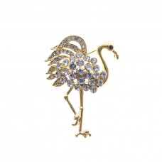 Crystal Flamingo Brooch - Gold