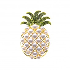 Pineapple and Pearl Brooch - Gold