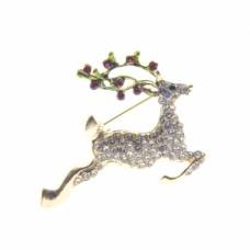 Reindeer Rhinestone Pin - Gold